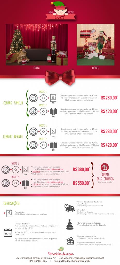 Todos os nossos pacotes, valores e informações referentes ao mini ensaio de Natal.